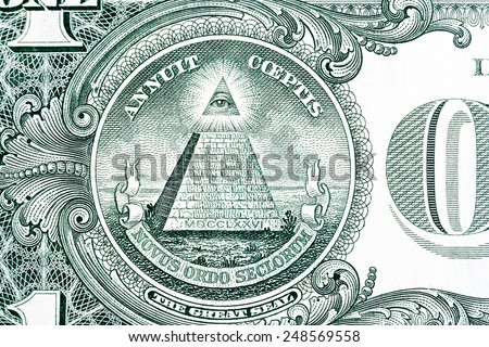 Part of one dollar note with great seal �¢?? macro shot - stock photo