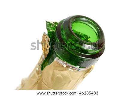 part of open empty champagne bottle isolated on white