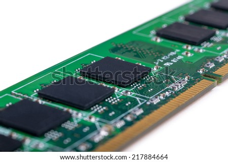 Part of PC memory module. Closeup with extremely shallow DOF. Isolated on white background. - stock photo
