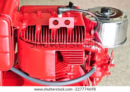 Part of portable gasoline engine - stock photo