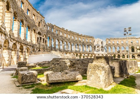 Part Of Roman Amphitheatre Pula Arena During Summer Day - Pula, Istria, Croatia, Europe