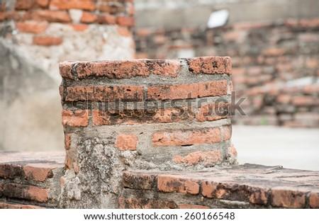 part of ruin ancient  buddha  in ayuthaya - stock photo