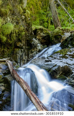 Part of Snow Creek Falls near Kootenai Wildlife Refuge in Bonners Ferry, Idaho. - stock photo