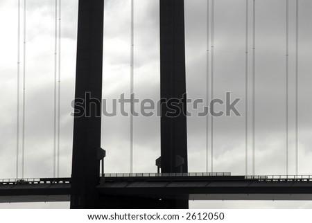 Part of Suspension Bridge - Black and White in Color. - stock photo