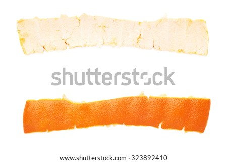 Part of tangerine peel stripe isolated on white background - stock photo