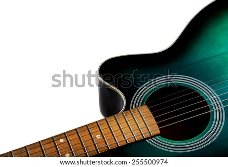 part of the acoustic guitar, black and green color isolated on a white background - stock photo
