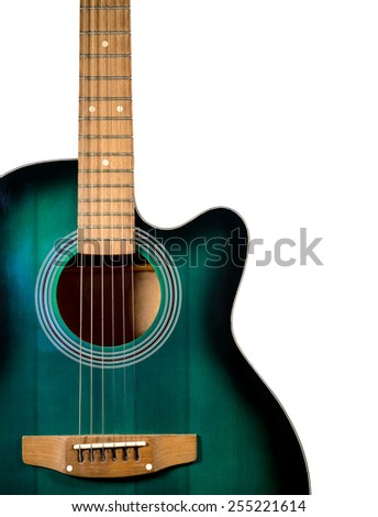 part of the acoustic guitar, isolated on a white background - stock photo