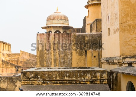 Part of the Amer Fort (Amber Fort and Amber Palace), a town near Jaipur, Rajasthan state, India. UNESCO World Heritage Site as part of the group Hill Forts of Rajasthan. - stock photo
