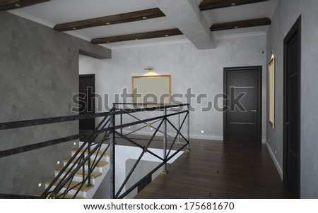 Part of the classical interior, staircase view 3D