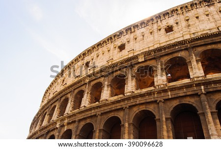 Part of the Colosseum or Coliseum, an elliptical amphitheatre in the centre of the city of Rome, Italy