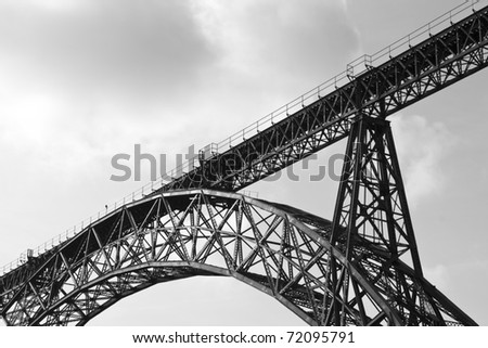 part of the construction of the Iron Bridge - stock photo