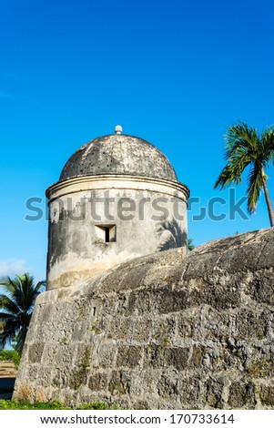 Part of the defensive wall that surrounds the colonial historic center of Cartagena, Colombia - stock photo