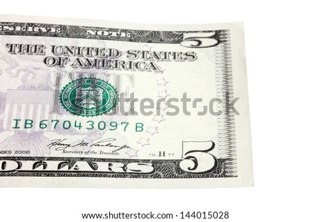 part of the five-dollar bill - stock photo