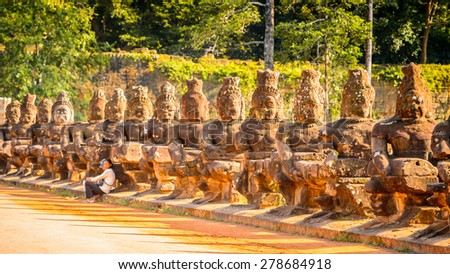 Part of the Gateway to the Angkor Thom in Cambodia - stock photo