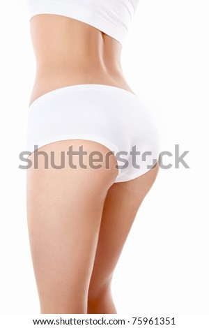 Part of the girl's body on a white background