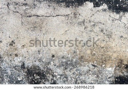 Part of the grange crumbling plaster on the old wall with black speckles. textural composition - stock photo