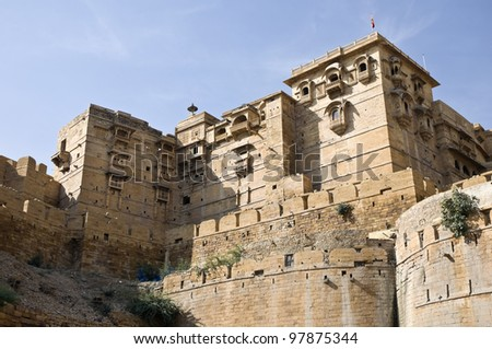 Part of the historic fort of Jaisalmer, India - stock photo