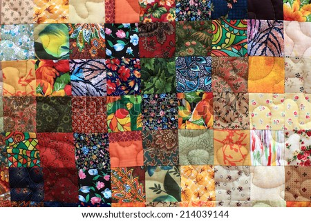 Part of the homemade patchwork as background - stock photo