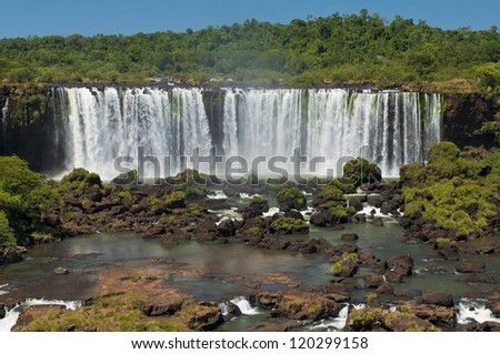 part of the iguazu falls, seen from the brazilian side, one of the world's seven natural wonders - stock photo