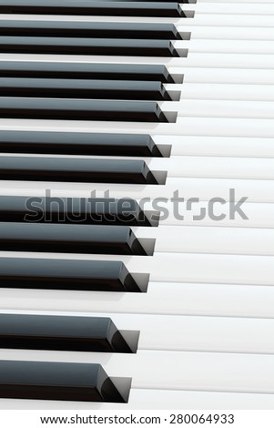 part of the keyboard of a piano, close up top view at a small angle