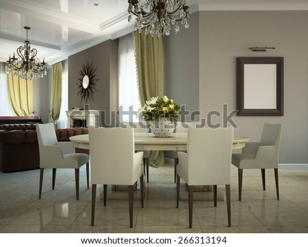 Part of the living-room in the country-house 3D - stock photo