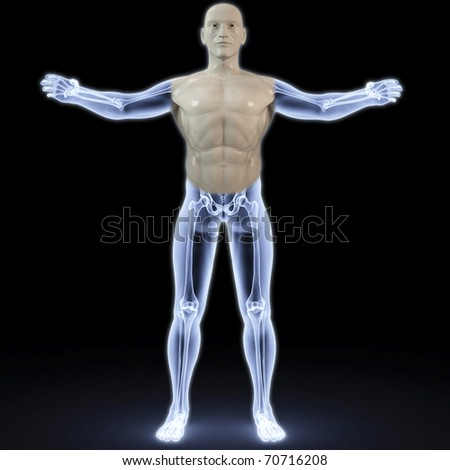 part of the male body under X-rays. 3d image. - stock photo