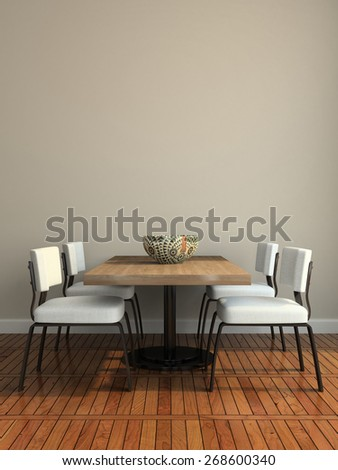 Part of the modern dining-room illustration 3D rendering - stock photo