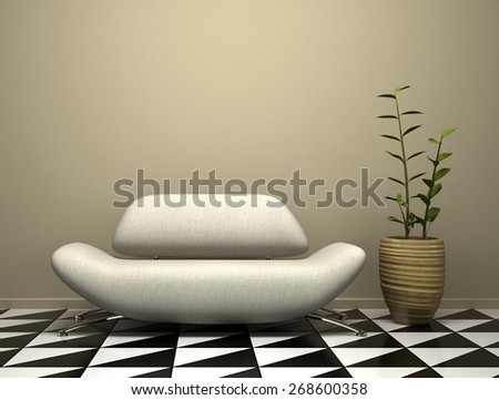 Part of the modern interior with sofa and plant illustration 3D rendering