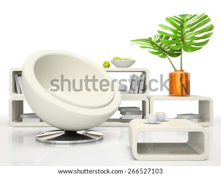 Part of the modern living-room on white background 3D rendering