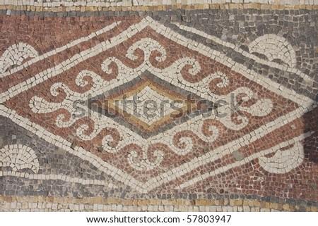 part of the mosaic floors in Caesarea.Israel - stock photo