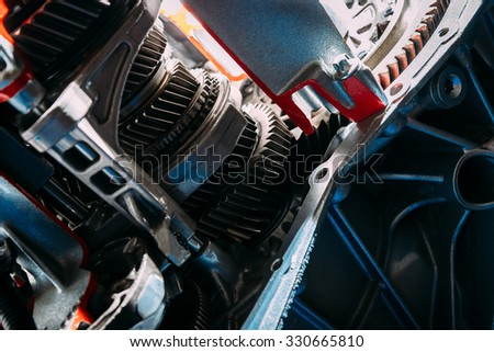 Part of the motor of the car. Gears close up - stock photo