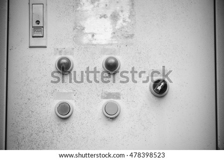 Part of the old electric control panel for background - Black and White