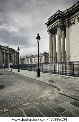 Part of the Pantheon and street lamps in Paris, France