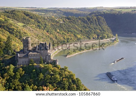 Part of the romantic Rhine valley, Germany - stock photo