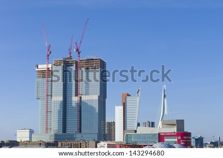 part of the rotterdam skyline - stock photo