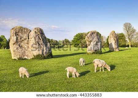 Part of the stone circle at Avebury Great Henge, a UNESCO world heritage site dating back 5000 years, in Wiltshire, England.