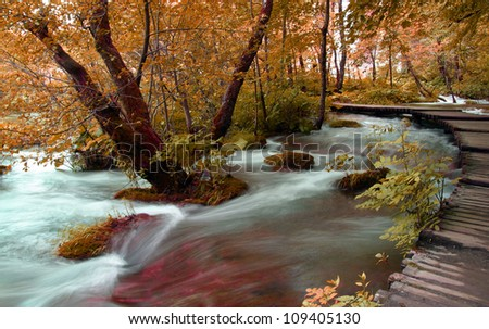 Part of the trail for a walk in the Plitvice Lakes National Park - stock photo