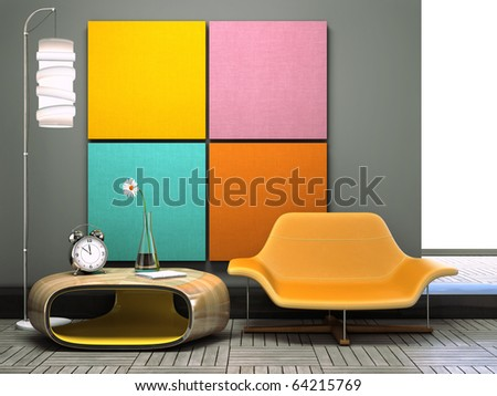 Part of the unusual l interior 3D rendering - stock photo