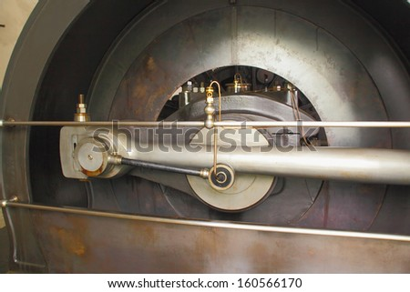 part of the wheel from vintage mine steam engine - stock photo
