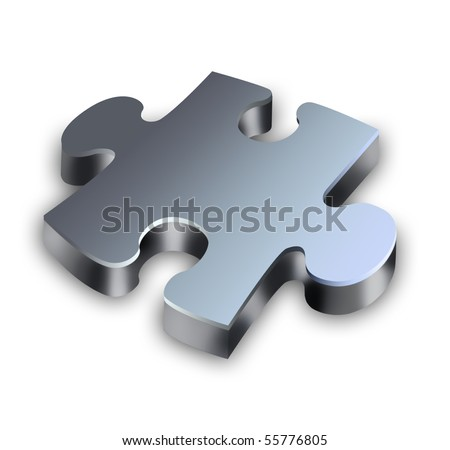 Part of three-dimensional puzzle on a white background - stock photo