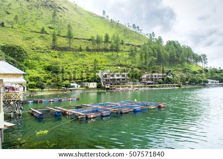 Part of tongging village at lake toba indonesia