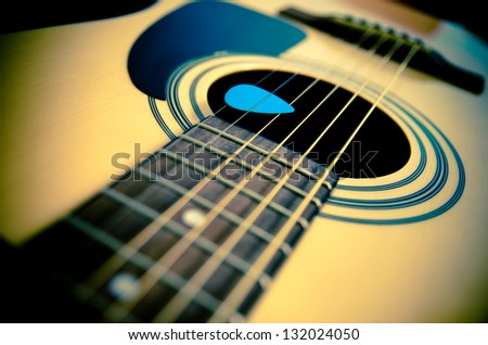 part of traditional acoustic guitar - stock photo