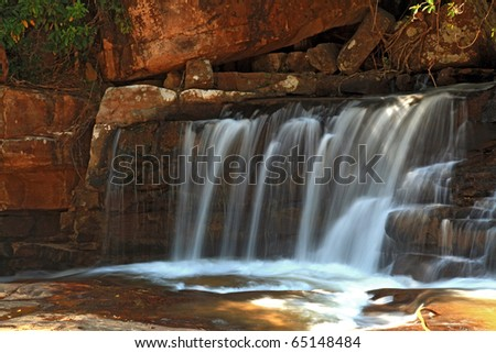 part of Tropical Tadtone waterfall in rain forest in Chaiyaphum North east of Thailand