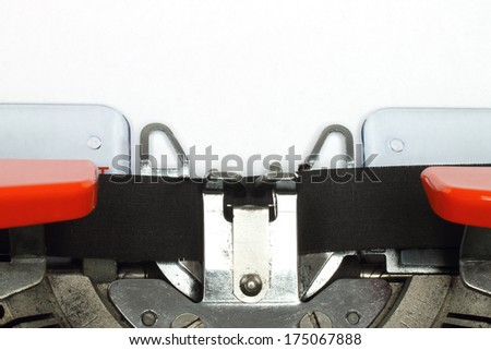 Part of typing machine with paper close-up  - stock photo
