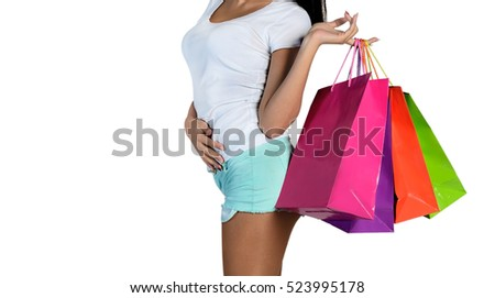 part of woman hold paperbag on white background