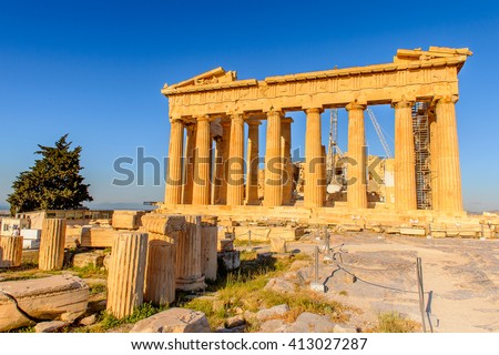 Parthenon, an ancient Greek temple  dedicated to the goddess Athena, Acropolis of Athens. UNESCO World Hetiage site.