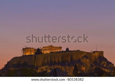 Parthenon and Acropolis by night  Athens Greece - stock photo