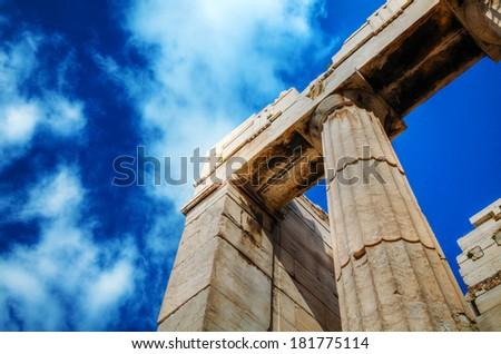Parthenon close up at Acropolis in Athens, Greece - stock photo