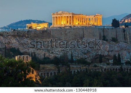 Parthenon construction in Acropolis Hill in Athens, Greece shot in blue hour
