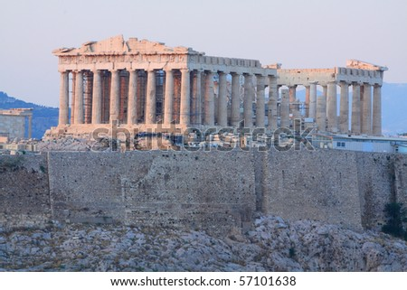 Parthenon on Acropolis hill in the afternoon - stock photo